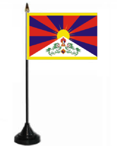Tibet Desk / Table Flag with plastic stand and base.
